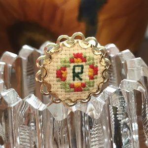 Vintage Handcrafted Cross Stitched Stick Pin